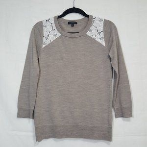 J Crew Tippi Lace sweater taupe size S E2368